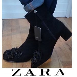 🆕NWT ZARA Bootie With Bow & Bead Embellishment
